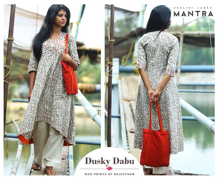 A collection of kurtas in Dabu-printed fabrics with eye-catching embroidery and detailing that highlight the beauty of this ancient mud-resist printing. Dusky dabu is out in our stores. SHOP NOW at http://bit.ly/22xdMcq