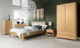 Bentley Designs Capri Oak Bedroom Set with Upholstered Bed