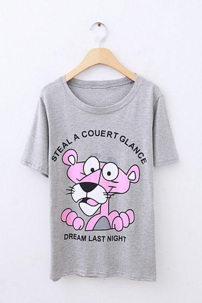 Cute Pink Panther Print Short Sleeve T-shirt OASAP.com