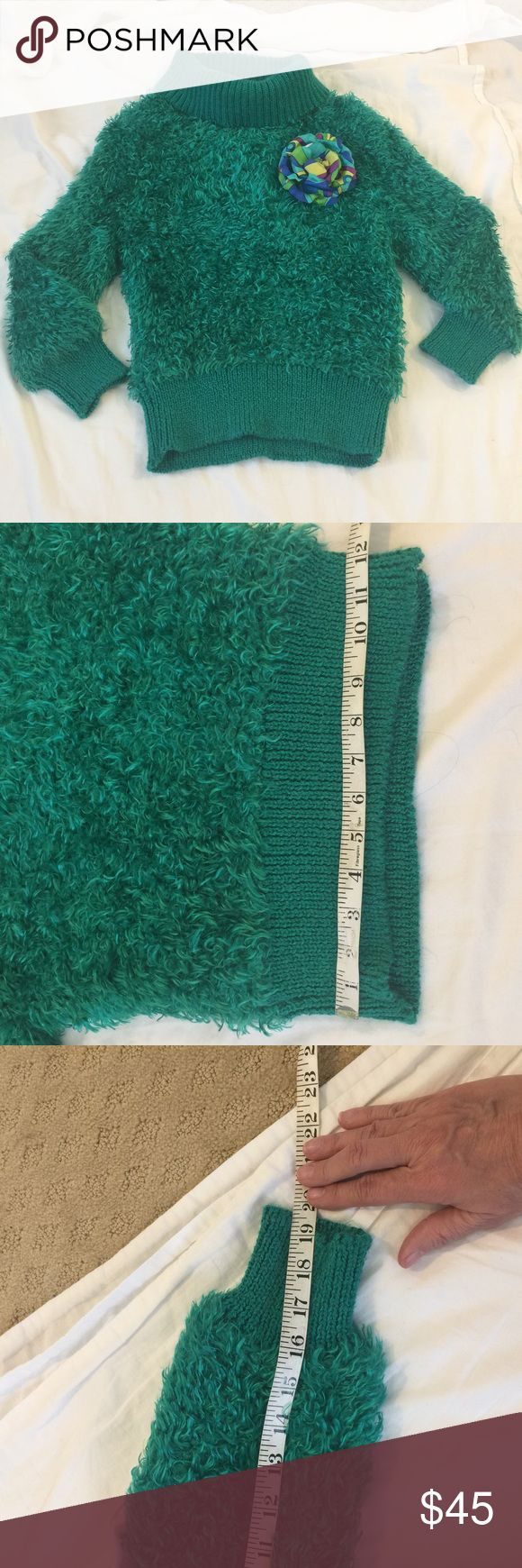 80s vintage green fuzzy sweater Truly vintage! Purchased in the 80s then passed it down to my daughter! Coldly neck sweater w/3/4 length sleeves! Has a lot of stretch! Tag says med but we were less curvy in the 80s so it definitely fits s smaller chest!! I'm listing it as a Small but see measurements!! Sweaters Cowl & Turtlenecks