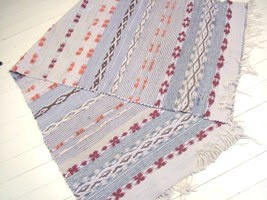 Vintage Grey, Maroon and Orange Swedish Rag Rug    Product ID: RR1234    Blocks of mid blue and pale blue,  divided by a maroon, pink and white geometric pattern  Completed with cotton fringe  Wide rug  Can be cut into two rugs  Size- 218 x 70 cm