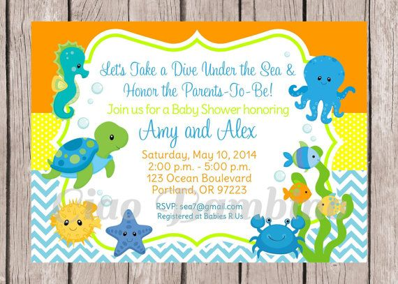 PRINTABLE / Personalized / Under the Sea Invitations for Baby Shower / Coordinating Party Decorations are Available