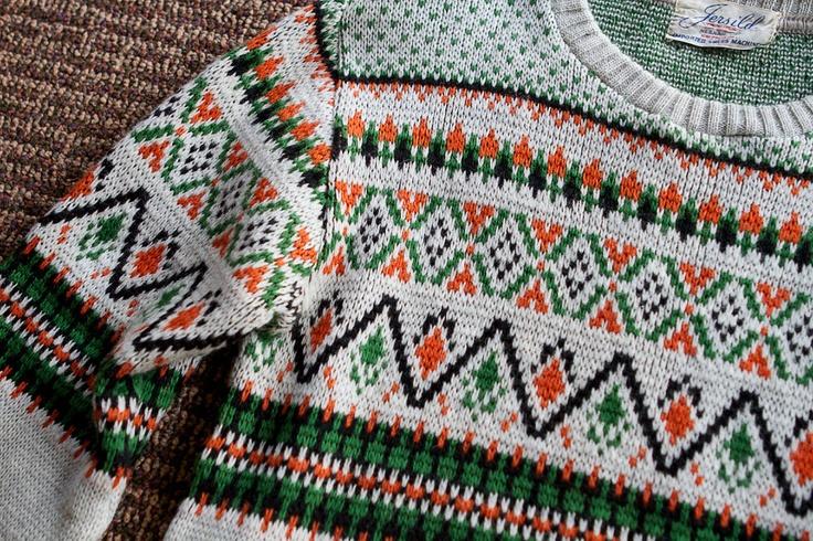 Vintage Fair Isle Sweater Scandinavian Jacquard Jersild Wool Sweater - Mens SMALL or Womens MEDIUM. $48.00, via Etsy.
