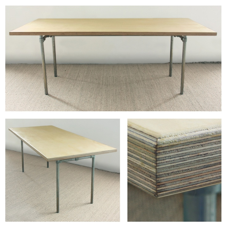 Birch Faced Plywood Table Top And Galvanised Steel Modular Legs. The Legs  Iu0027d