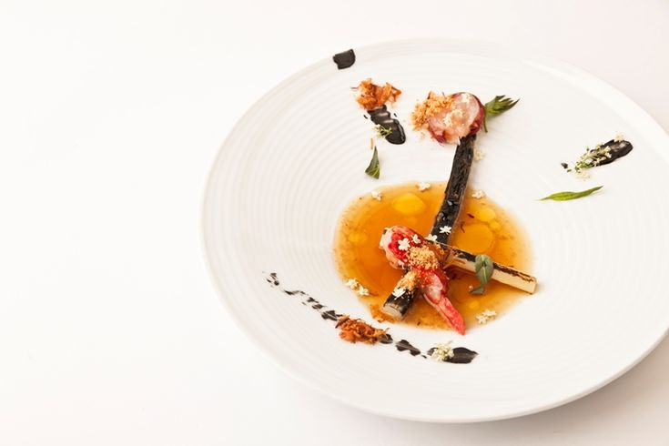 Nuno Mendes creates a dazzling, abstract dish from charred leeks and native lobster