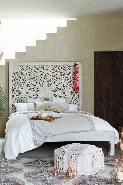 Must have a bed with a tall statement headboard in my studio. Love this one, but hate the price.