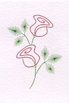 Free rose easy prick n' stitch greetings card pattern