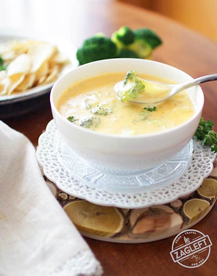 This Broccoli Cheddar Soup For One is adapted from my family's favorite Broccoli Cheddar Soup recipe. Creamy, extra cheesy and filled with broccoli. This single serving recipe will surely become your favorite too. | ZagLeft