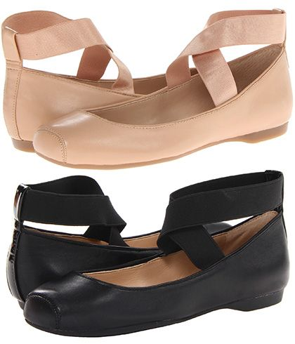 "Jessica Simpson ""Mandalaye"" Square-Toe Ballet Flats in nude and black (Chloé knockoffs)"