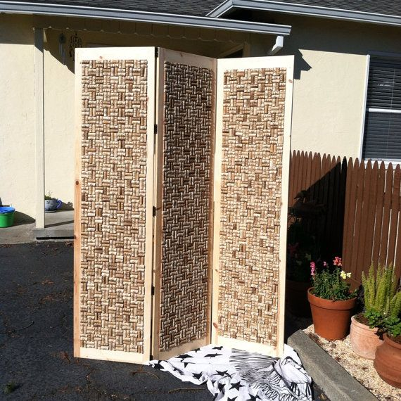 Cork screen room divider by BeansNstuff on Etsy, $450.00