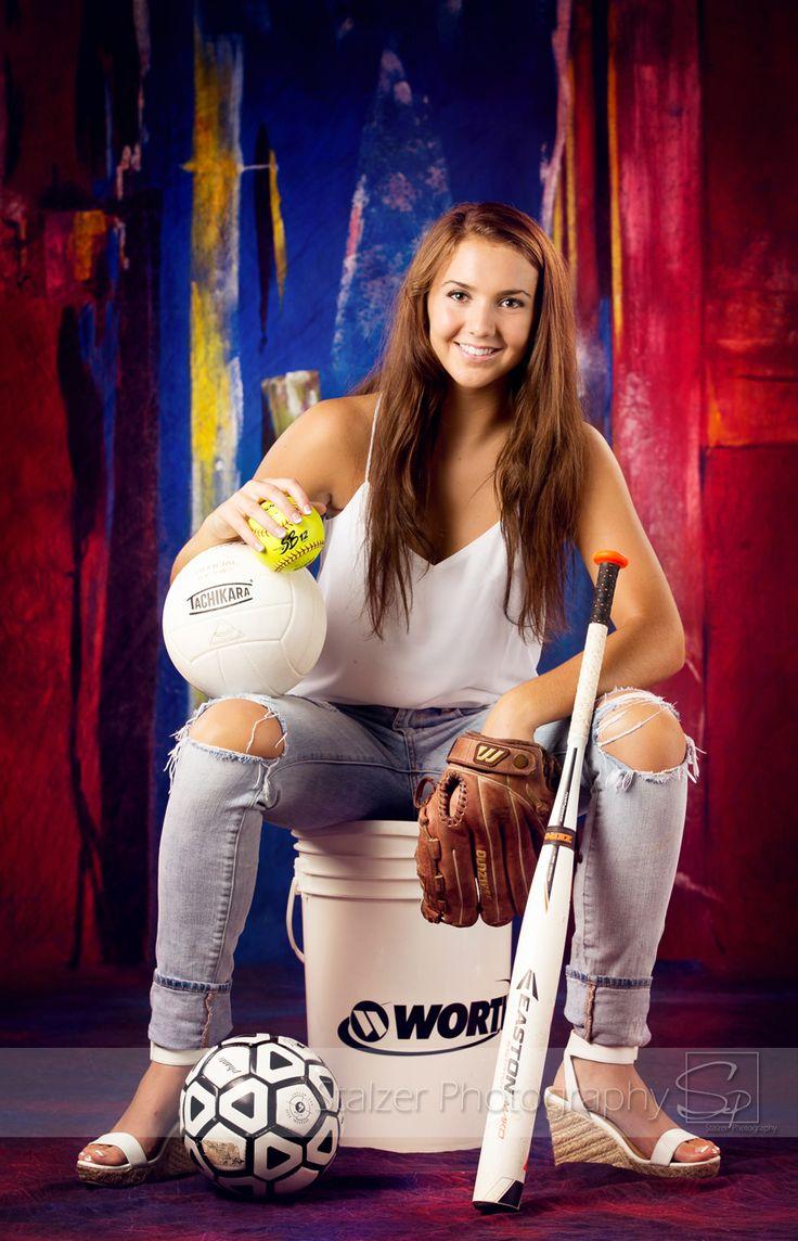 seniors, senior pictures, sports, multiple sports, softball, soccer, volleyball, bucket, heels,