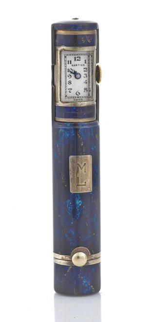 Bonhams : Jewelry. An enamel and silver lipstick case watch, Cartier