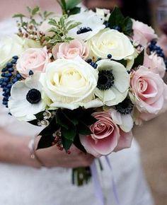 Wedding Theme // Navy, Gold & Antique Blush. Anemone & rose bouquet                                                                                                                                                                                 More