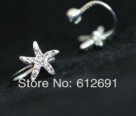 Корейский star серьги кристалл нет пирсинг уха манжеты мучиться сверление серьги u-тип клипсы девочка LM-HC-27