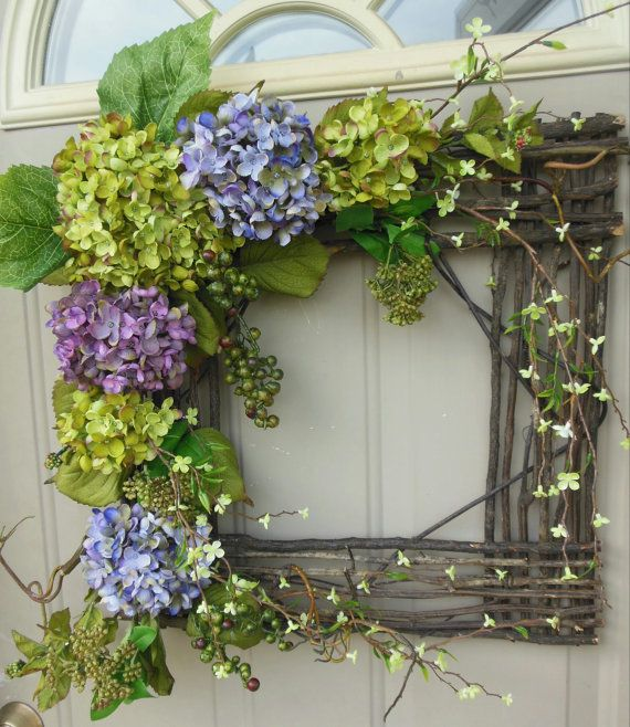 "SALE...SALE...SALE... Spring / Summer Grapevine square wreath - ""Wild Beauty""... Gorgeous for year round use... Spring wreath on Etsy, $89.00"