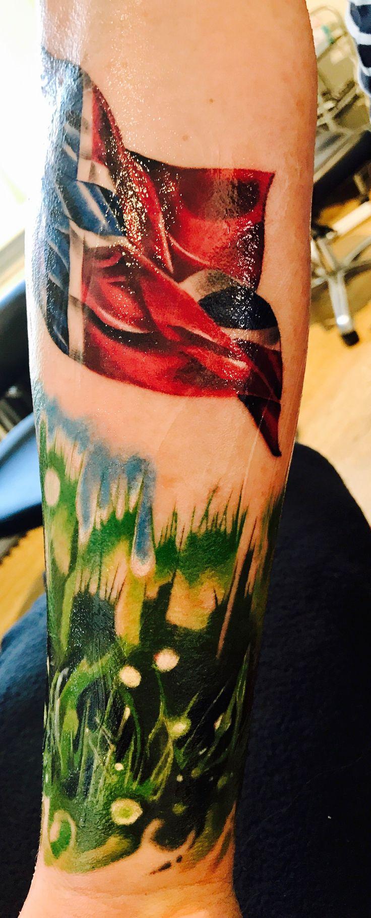 Watercolor Tattoo Norwegian Flag