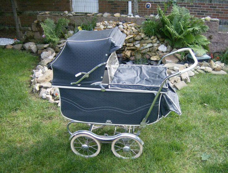 1960s Rex Baby Stroller Buggie Blue White Vintage Baby