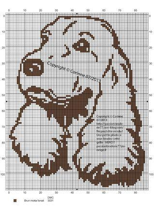 chien - dog - cocker - broderie - cross stitch - Point de croix -