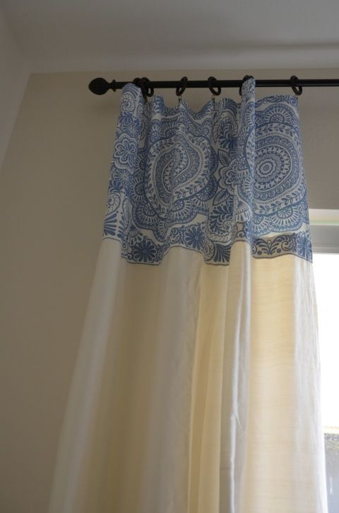 make curtains longer with glue and a fabric shower curtain ...