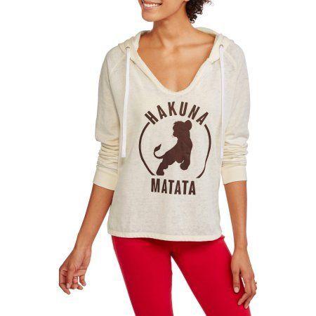 Disney Lion King Ladies Split Neck Burnout Hoodie Sweatshirt, White