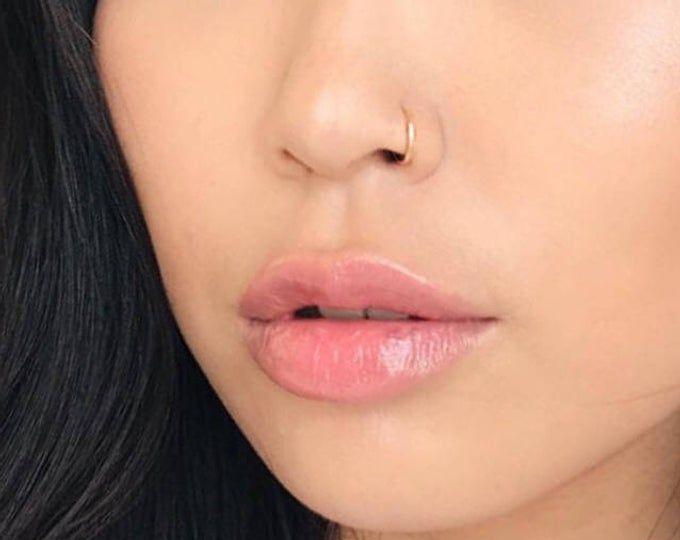 Set Of 2 Fake Nose Ring Hoop Piercing Etsy Fake Nose Rings