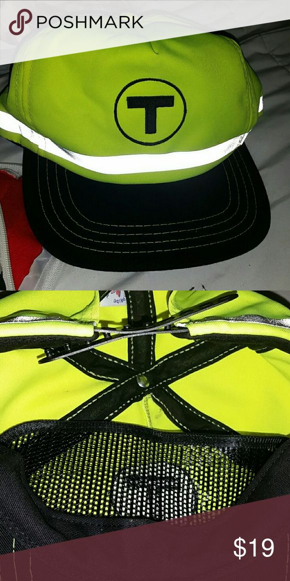 Train official hat adjustable My friend who works on the MBTA bought this for my son and although adjustable it's huge on him still;) good for a costume or to wear at night especially riding a bike cuz the reflectors and bright colors can't be missed. MBTA Accessories Hats