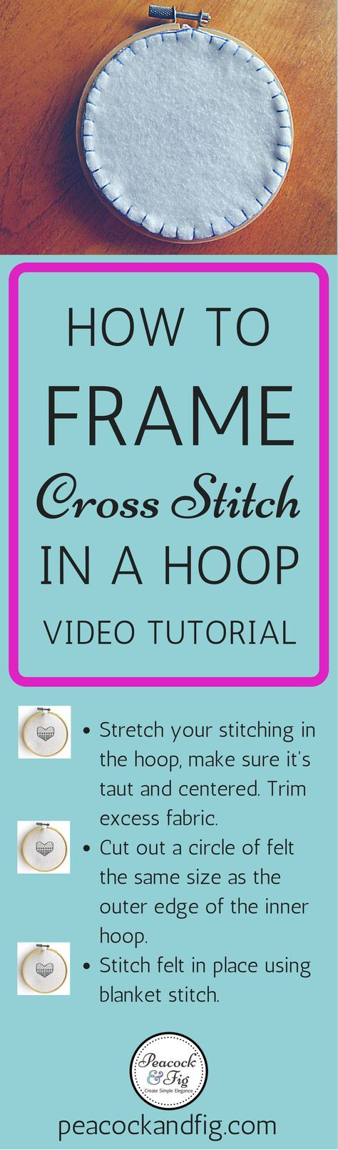 Have you ever wondered how to frame cross stitch in an embroidery hoop, rather than in a frame? This video tutorial will show you how to do this popular technique quickly and easily, and a free cross stitch pattern at peacockandfig.com is shown as well!