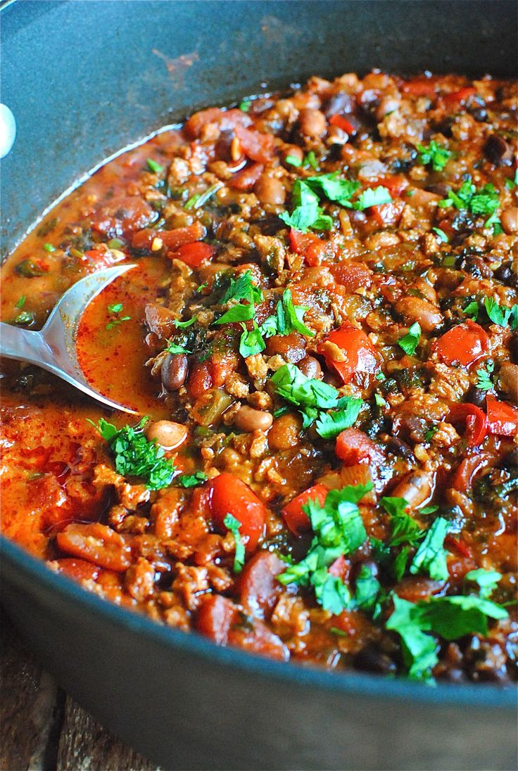 Chorizo and Two Bean Chili.  I would use real Chorizo, none of that soy garbage