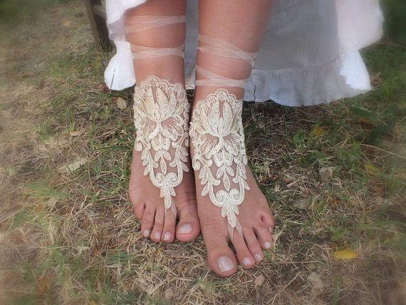 bridalla Plaj düğün tarafından şampanya dantel gelinlik sandalet serbest gemi halhal, halhal yalınayak sandalet, halhal, bilezik düğün, gelin