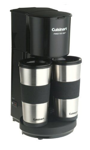 Cuisinart TTG-500 Two-to-Go Coffeemaker by Cuisinart. $149.95. Automatically shuts off after brewing for added safety. Dishwasher-safe mugs and lids; includes 2 disposable paper filters. Stainless-steel mugs with rubber, non-slip grips fit most vehicle cup holders. Brews through lids into one or two 14-ounce travel mugs. Measures 13 by 5-1/4 by 8-1/2 inches; 3-year limited warranty. Amazon.com                Perfect for preparing coffee at home before dashing out the d...