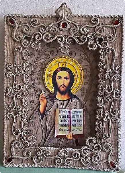 Картина панно рисунок Аппликация Макраме Макраме-икона Иисус Бисер Бусины Нитки Ткань фото 2
