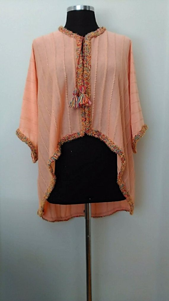 Women's Peach Cape Jacket  With Handwork Trim - Oversize  Stripe Cropped Style…