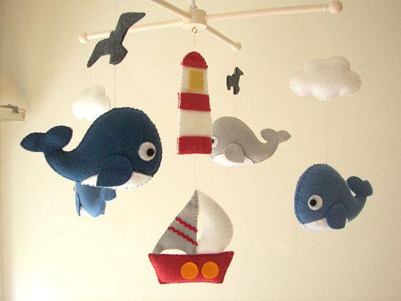 "Baby crib mobile, Felt mobeil, Baby crib mobile, Whale mobile, Boat mobile, nursery mobile - ""Ocean Freedom"""