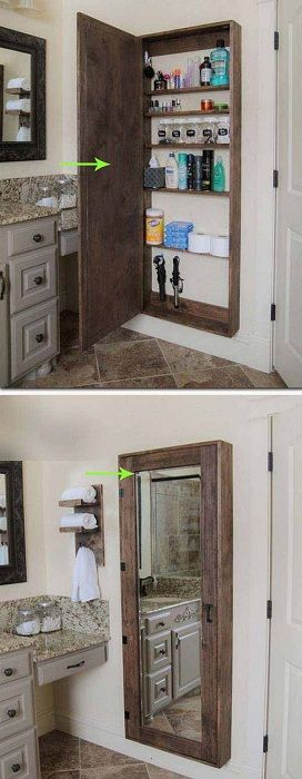 Шкаф в ванной комнате для хранения нужных мелочей.
