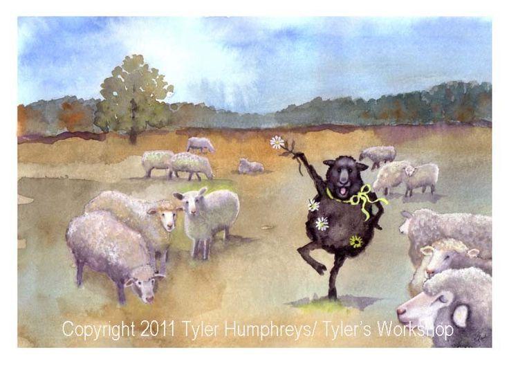 Funny Sheep Greeting Card- Black Sheep Watercolor Painting Illustration Print 'Blaaaack Sheep'. $3.75, via Etsy.