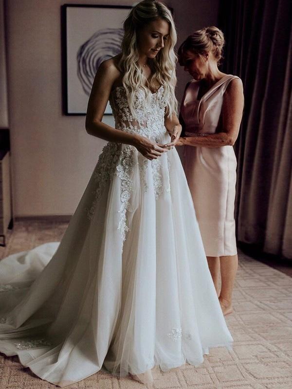 Lace A Line Wedding Dress Ivory Sweetheart Wedding Dress # VB4833