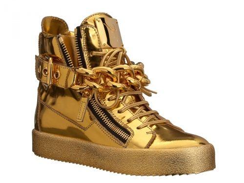 Sneakers Giuseppe Zanotti in Pelle di vitello laminato oro