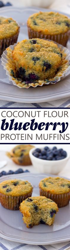 Coconut Flour Blueberry Protein Muffins! Easy, gluten-free, paleo and protein-packed muffins for busy mornings!: