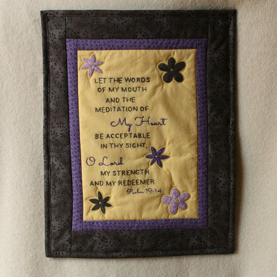 Keep this beautiful scripture in plain view with this hand embroidered wall art.
