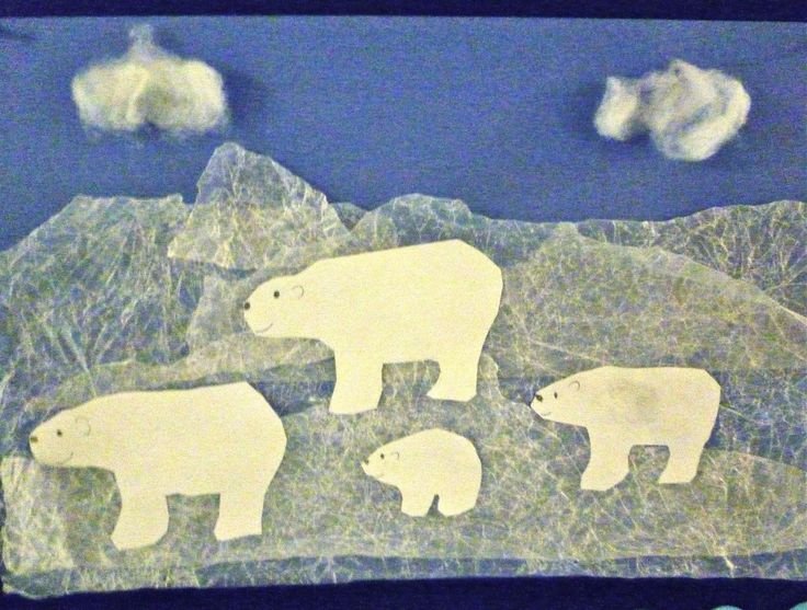 Polar Bear art using waxed paper overlays