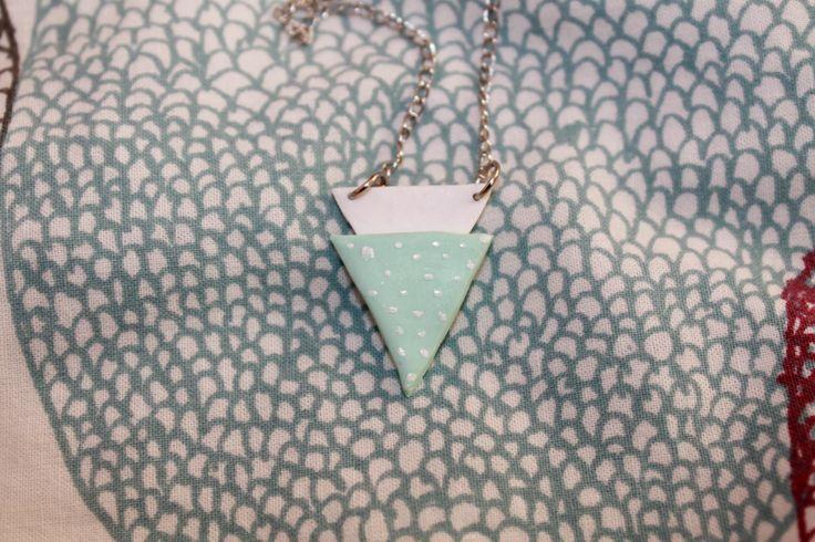 Collier en Fimo Géometrique Triangles couleurs pastel