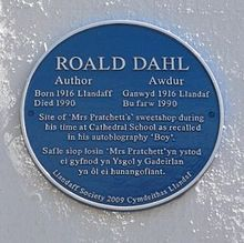 Blue plaque for Roald Dahl in Llandaff, Cardiff