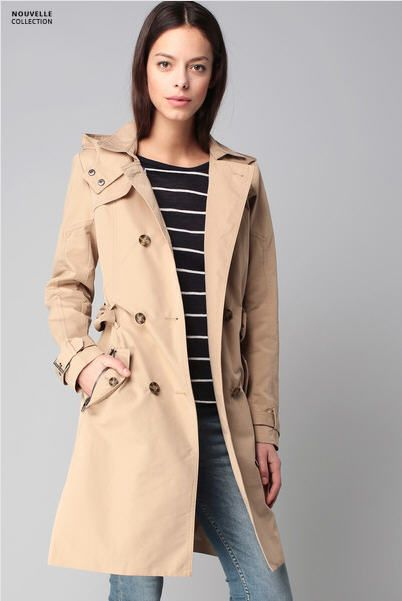 Trench beige capuche Savannah Only pour femme prix Trench Monshowroom 79.95 €