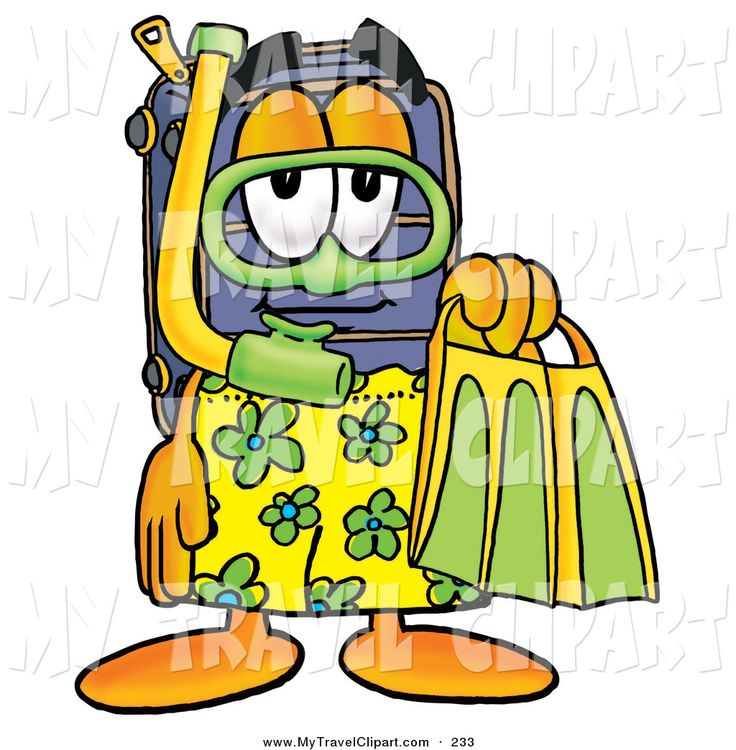 ... Sporty Suitcase Cartoon Character in Green and Yellow Snorkel Gear
