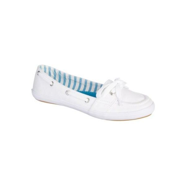 Keds Womens Teacup Boat Shoes (€40) ❤ liked on Polyvore featuring shoes, loafers, white, laced up shoes, slip on deck shoes, white shoes, slip on boat shoes and sperry top-sider shoes