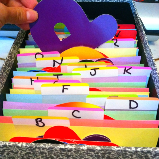 Organize your teacher letters!  Saves me so much time when making bulletin boards!