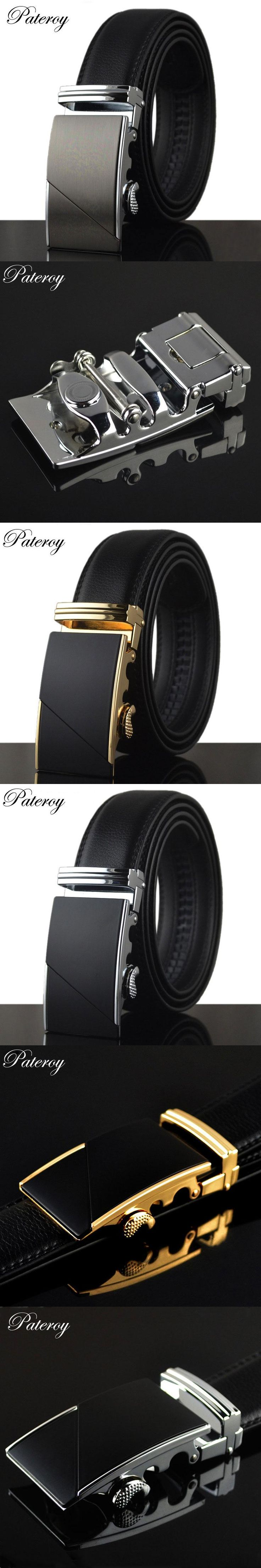 [PATEROY] Belt Designer Belts Men High Quality Ceinture Homme Luxury Cow Leather Belt Men Ceinture Automatic Buckle Silver Kemer