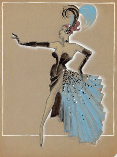"""Showgirl costume design drawing, black gown with light blue ruffled train and feathered headpiece, circa 1950s. Part of UNLV Libraries """"Showgirls"""" digital collection."""