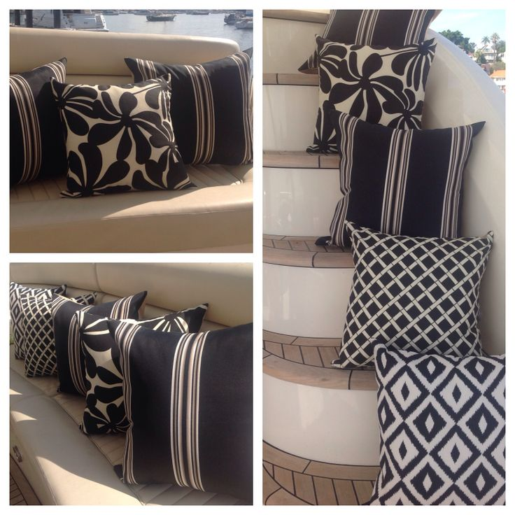 Sophisticated styling in black white & cream cushions, this look is created by mixing patterns with stripes. Amazingly, they are outdoor fabrics which means they are water & stain resistant, sun savvy too - perfect for alfresco and marine adventures.