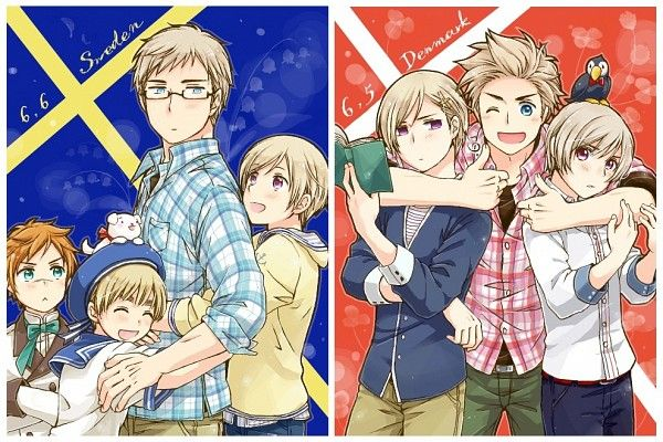 Hetalia - Ladonia, Sealand, Sweden and Finland with Norway, Denmark and Iceland